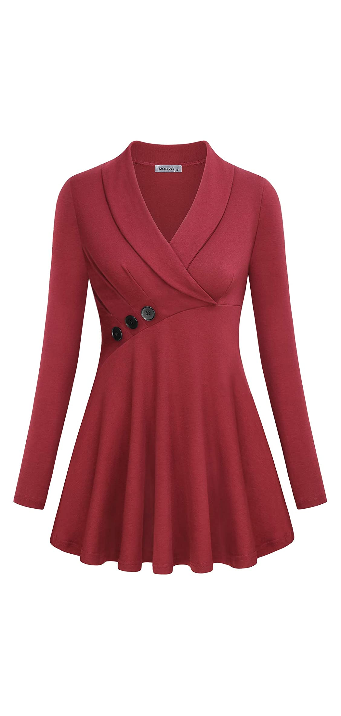 Womens Tops V Neck Long Sleeve Shawl Collar Button Decor