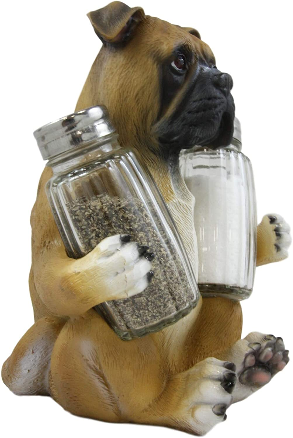 Ebros Gift Realistic Fawn Boxer Puppy Dog Hugging Glass Salt Pepper Shakers Holder Decorative Statue 6.25High Resin Dogs Boxers Memorial Pets Pet Pal Animal Home Kitchen Spice Organizer Figurine