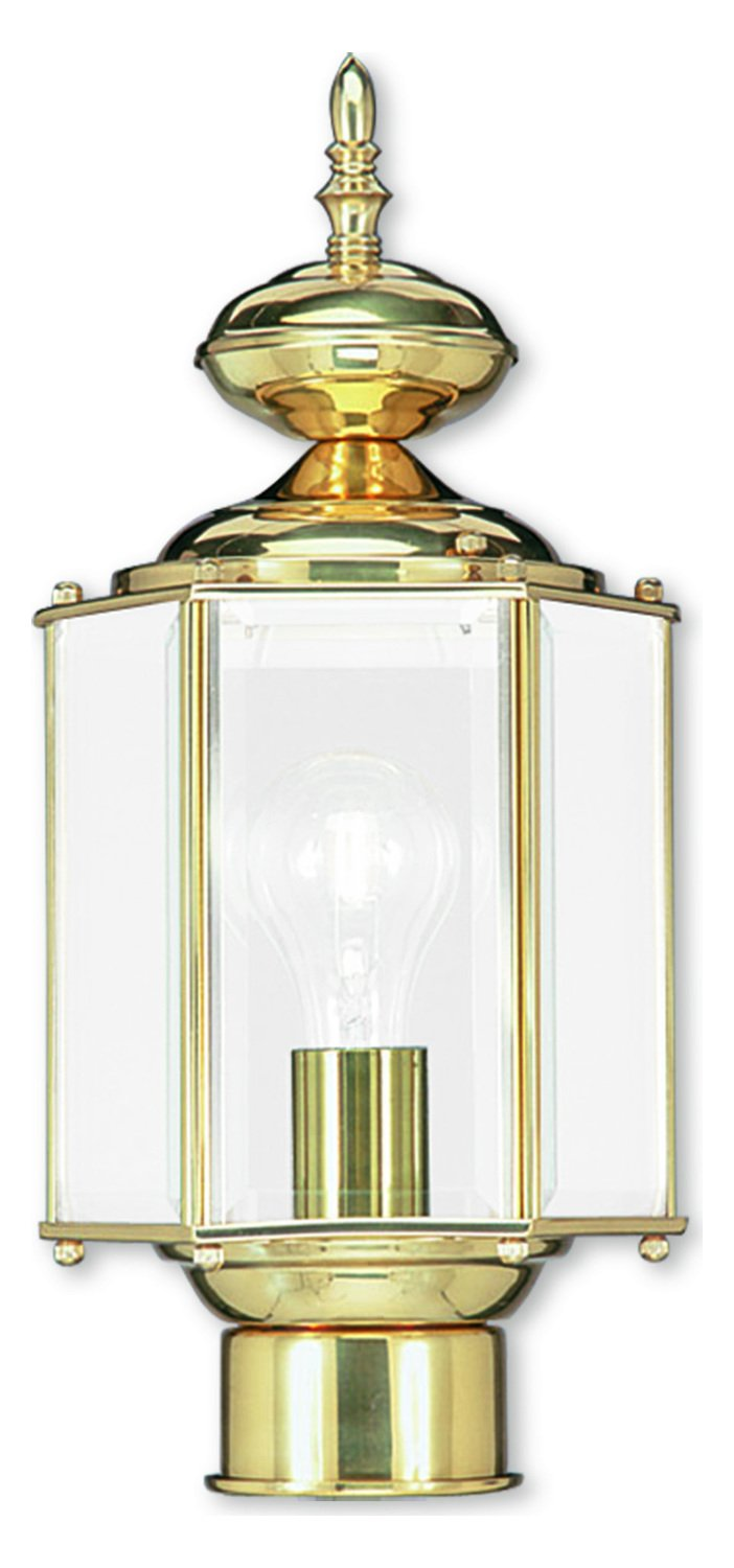Polished Brass 1 Light 100W Post Light with Medium Bulb Base and Clear Beveled Glass from Outdoor Basics Series