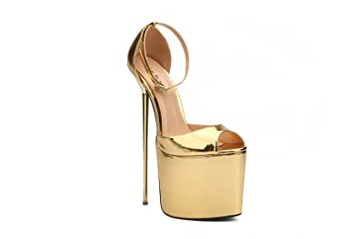 c028a0b4d0ae Leeminus Womens Faux Leather Peep Toe Platform Sandals with Ankle Strap  Gold 9 B(M
