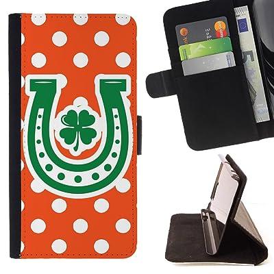 FJCases Patrón de Lunares Herradura Trébol Suerte (Naranja) Carcasa Funda Billetera con Ranuras para Tarjetas y Soporte Plegable para Motorola Moto E4