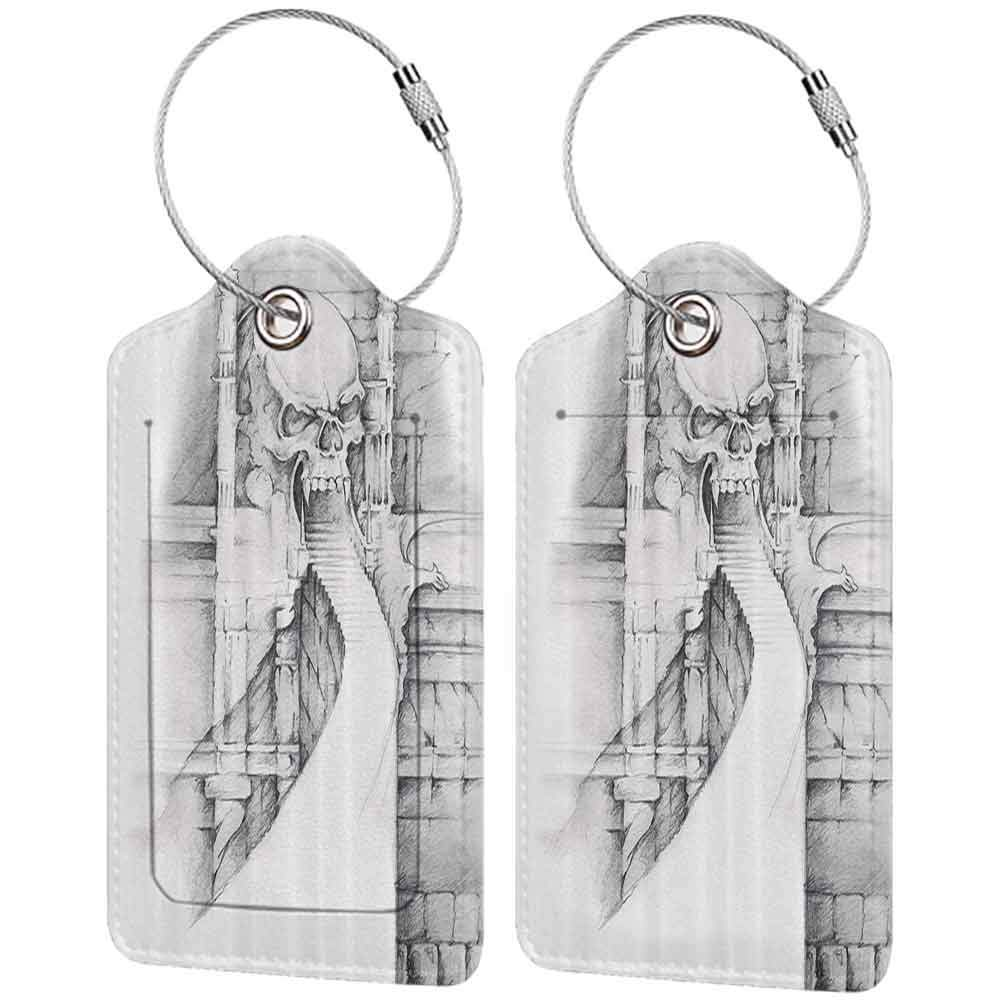 Flexible luggage tag Tattoo Decor Angel Playing the Violins over Vintage Paper Sculpture Style Silhouette of Man Fashion match Sepia Grey W2.7 x L4.6