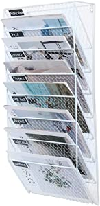 PAG 8 Pockets Wall File Holder Wall Mounted Mail Organizer Metal Chicken Wire Hanging Maganize Rack, White