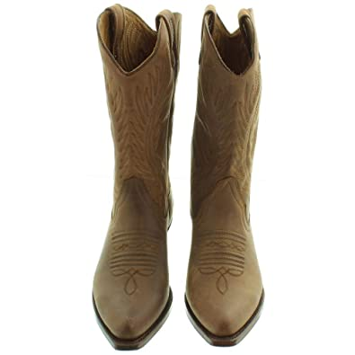 1ac34e7b281 Loblan - All Leather 194 Western Calf Boots in Brown: Amazon.co.uk ...