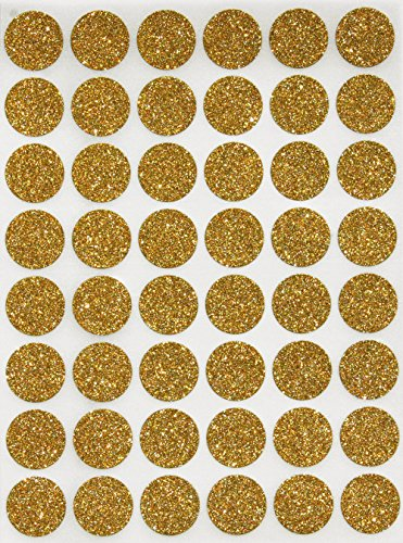 Royal Green Gold Sparkly Color Coding Labels 5/8inch Diameter (11/16) Dot Sparkly Stickers - Size 0.69 inch 17mm Glitter Round Stickers - 336 Pack