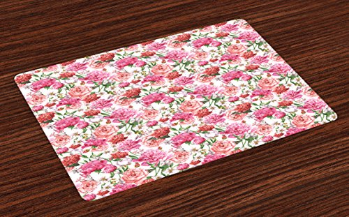 Ambesonne Shabby Chic Place Mats Set of 4, Summer Spring Garden Flowers with Leaves and Buds Artwork, Washable Fabric Placemats for Dining Room Kitchen Table Decor, Orange Hot Pink and Pale Pink