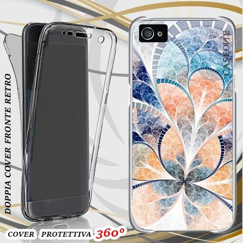 CUSTODIA COVER CASE TESSUTO BIANCO ABSTRACT PER IPHONE 5 FRONT BACK
