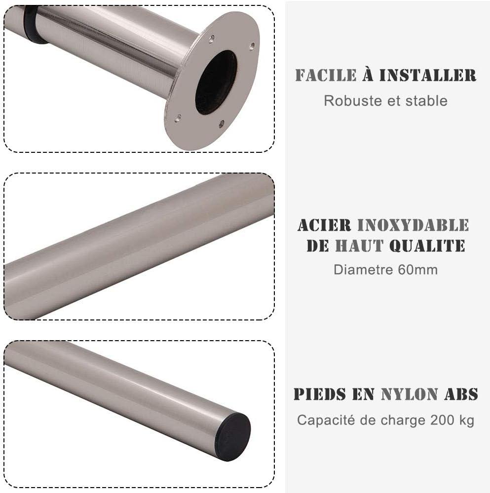 Pied de Meuble en Acier Inoxydable Haute Qualit/é 71~110cm Pieds Epingle avec Protecteur de Sol /Ø60mm AllRight Set de 2 Pieds de Table Hauteur R/églable Chrome Poli
