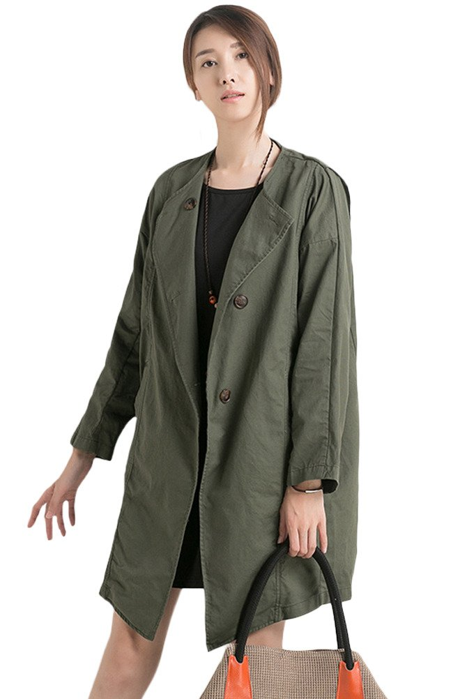 Mordenmiss Women's Spring/Fall Drawstring Cotton Trenchcoat With Pockets (L, Style 2-Army Green)