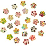 Pack of 25 Flower Print 2 Holes Flower Shape Wooden Buttons, for Sewing, Scrapbooking, Embelishments, Crafts, Jewellery making, shabby chic, Knitting, 17x17mm