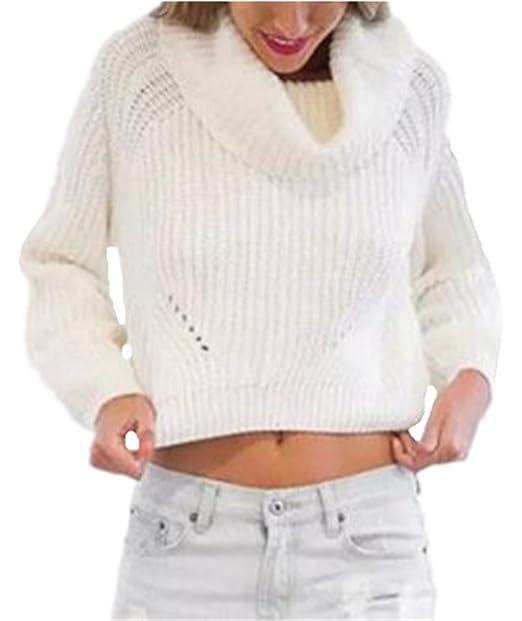 Tayaho Sweater Mujer Sueter de Manga Larga Cuello Alto Pullover De Punto Sweater Suelto Elegantes Tops
