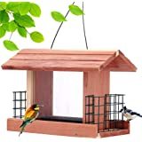 Solution4Patio Homes Garden USA Cedar Bird Feeder Wildbird Essentials Handmade Wooden Outdoor Ranch Patio Yard Tree…
