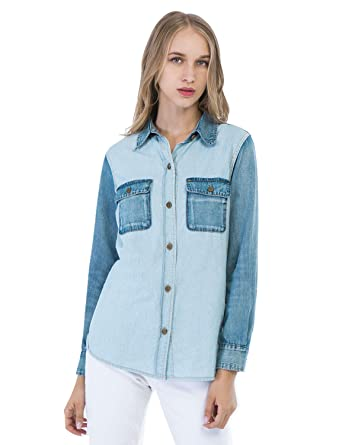 b0243b8c0cf D-ID Tops Classic Women s Denim Shirt Slim fit Jeans Shirts Long Sleeve XS
