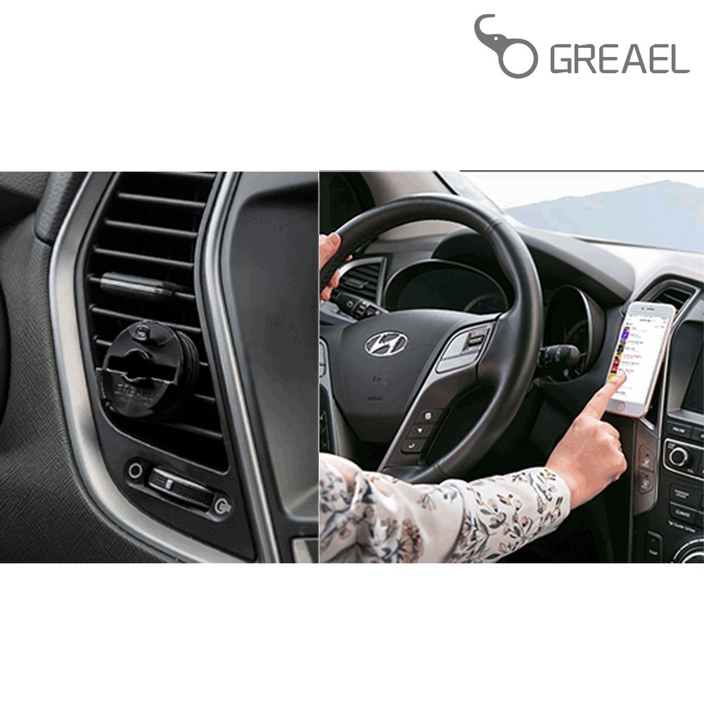 GREAEL MOUNT PLUS GREAEL 2017 VEHICLE AIR VENT SNAP-IN RING MOUNT // Universal fits all GREAEL Mount Ring Products// Provides silicon rubber on vent clamp to hold GREAEL MOUNT PLUS // Black
