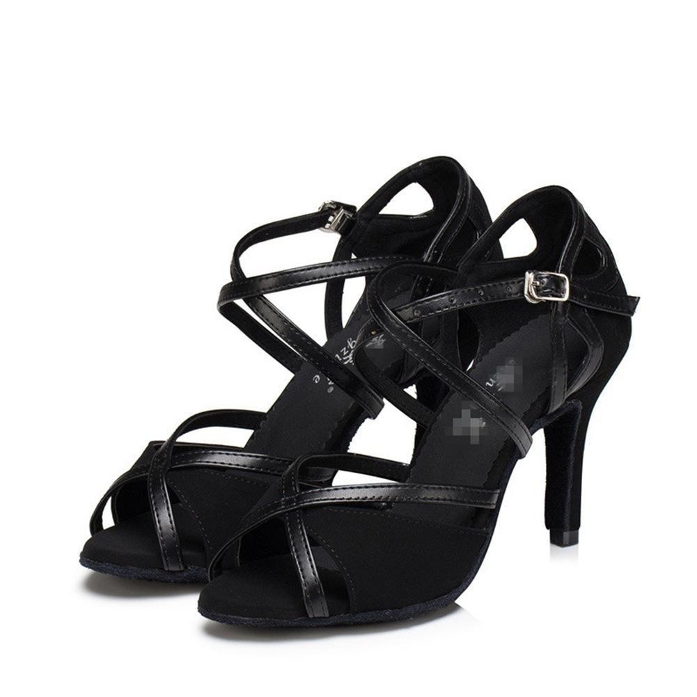 C Wgwioo Femmes Sandales Salsa Latin Tango Ballroom Chaussures De Danse Cuir Suède Soft Soles Boucle High Heel noir