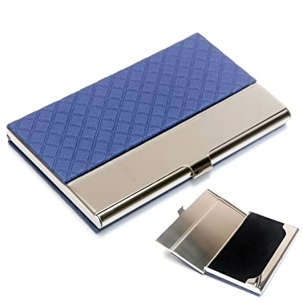 pocket business card case stainless steel leather embossed credit id card holders business name card organiser - Pocket Business Card Holder