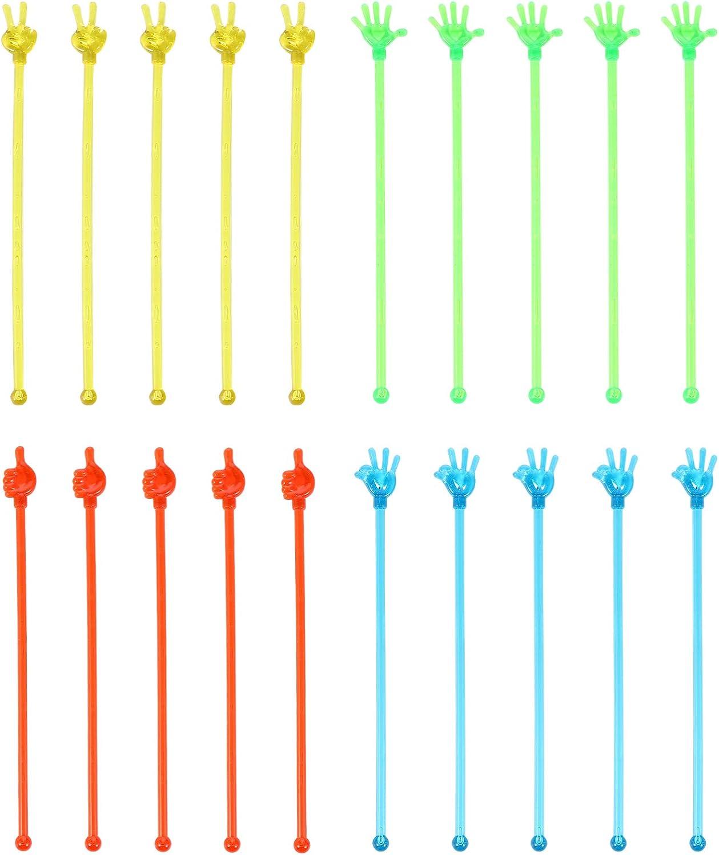 TOYANDONA 20 Piezas Varilla de Agitaci/ón con Forma de Palma de Mano C/óctel Bebida Agitadores de Caf/é Varilla de Mezcla de Postre de Cristal Suministro de Fiesta de Navidad para Bar Home