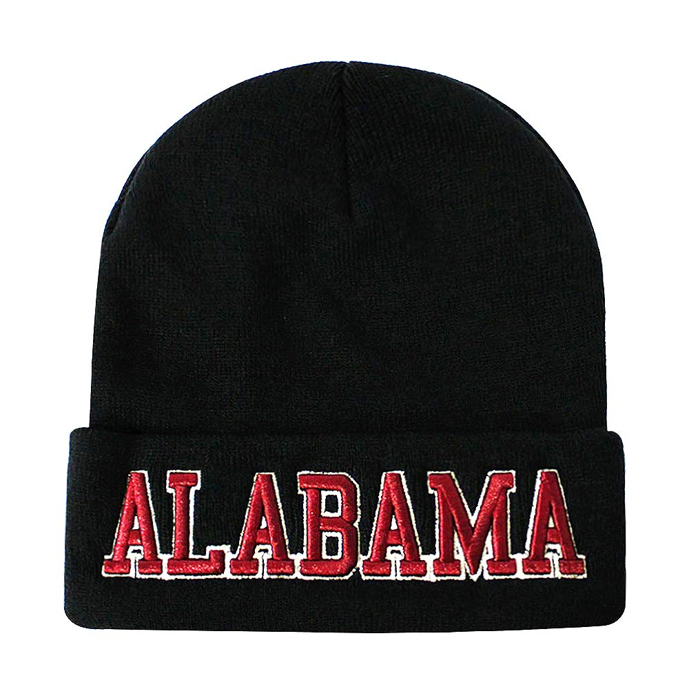 bc8f9519150 ChoKoLids Classic Cuff Beanie Hat - Black Cuffed Football Winter Skully Hat  Knit Toque Cap (Alabama)  Amazon.ca  Clothing   Accessories