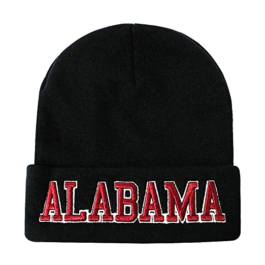 Classic Cuff Beanie Hat - Black Cuffed Football Winter Skully Hat Knit  Toque Cap (Alabama b2bb42610