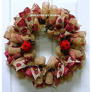 Lady Bug Wreath, Summer Wreath, Red Natural Wreaths - Item 2622 30
