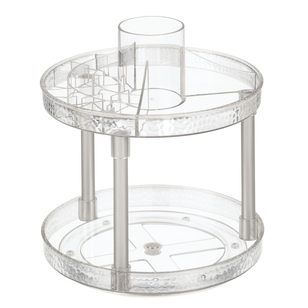 InterDesign Rain Two-Tier Turntable Cosmetic Organizer 4.75'' x 9.5'', 12.1 x 24.1 x 25.4 cm, Clear/Satin by InterDesign