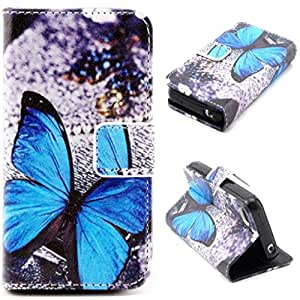 iPhone 5C Case,5C Case,Gift_Source Brand New [Stand Feature] Case [Slim Fit] Folio Leather Stand [Wallet] Shell Cover with Card Holder Compatible with Apple iPhone 5C [Blue Butterfly Pattern]
