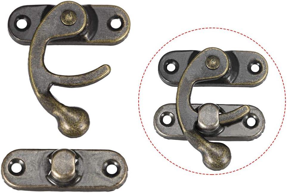 30 pcs w Screws sourcing map Antique Vintage Lock Clasp Left Latch Hook Hasp 32mm x 28mm Swing Arm Latch Plated Bronze