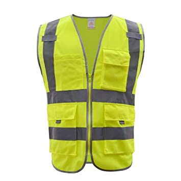 Meets ANSI//ISEA Standards XX-Large, Pink /… JKSafety 9 Pockets Class 2 High Visibility Zipper Front Safety Vest with Reflective Strips