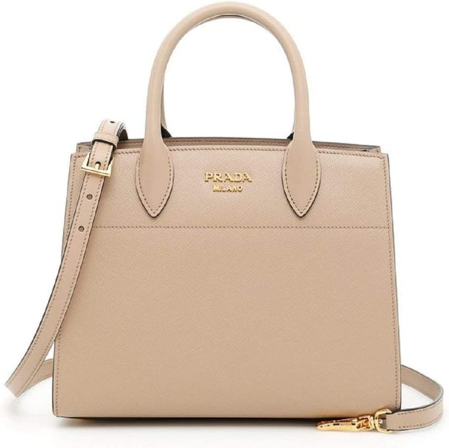 Prada Bibliothèque Tote Saffiano City Leather Beige and Maroon Handbag