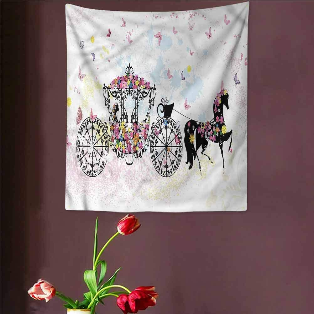 VVA KidsTapestry Wall Hanging,Floral Carriage with Horse Ream Wall Decor Blanket for Bedroom Home Dorm,