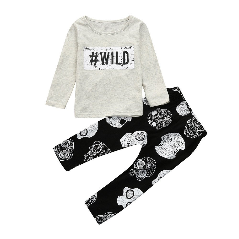 Hatoys Baby Care Boys Girls Letter Print Tops T-Shirt Skull Pants 2Pcs Outfits Set (70) by Hatoys (Image #1)