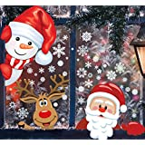 MISS FANTASY 142 PCS 4 Sheet Christmas Window Clings Stickers for Glass Decals Reuseable for Xmas Christmas Party Decorations Holiday Snowflake New Year Christmas Decorations for Windows Kitchen
