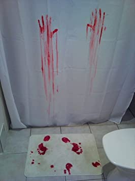 Bloody Bath Shower Curtain Blood Mat Set Amazonca Home Kitchen