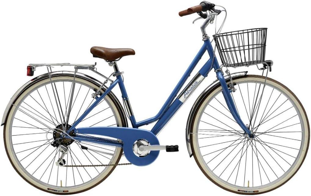 Adriatica Panarea - Bicicleta de mujer de 28 pulgadas, Shimano 6 V, azul avio