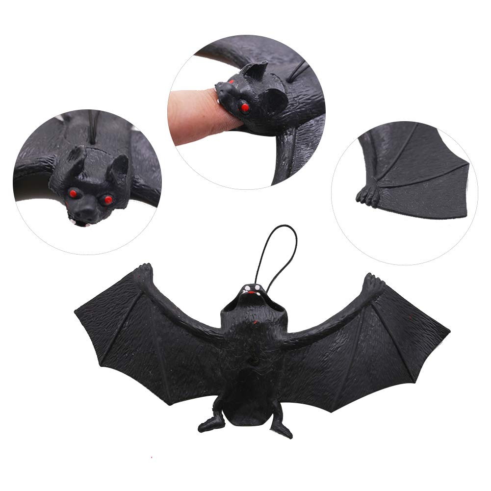 12PCS Halloween Bats,Rubber Hanging Bats for Halloween Party,April Fool\'s Day,Haunted House Decoration