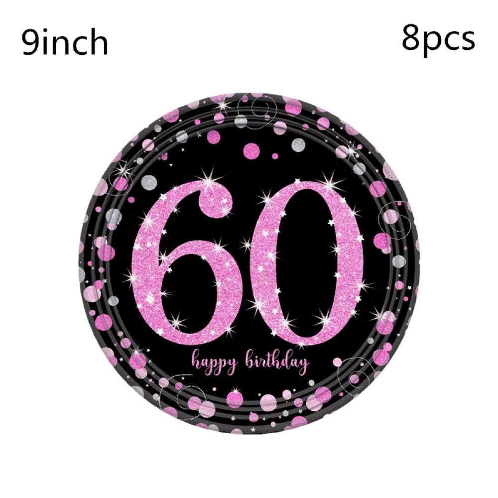 QUQUET 21/30/40/50/60th Happy Birhtday Party Vajilla ...