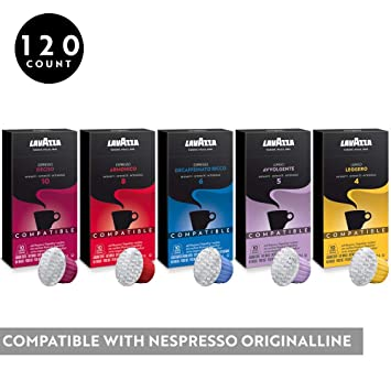 Lavazza Coffee for Nespresso OriginalLine Machine 120 pods Certified Genuine Espresso Variety Pack, Pods...