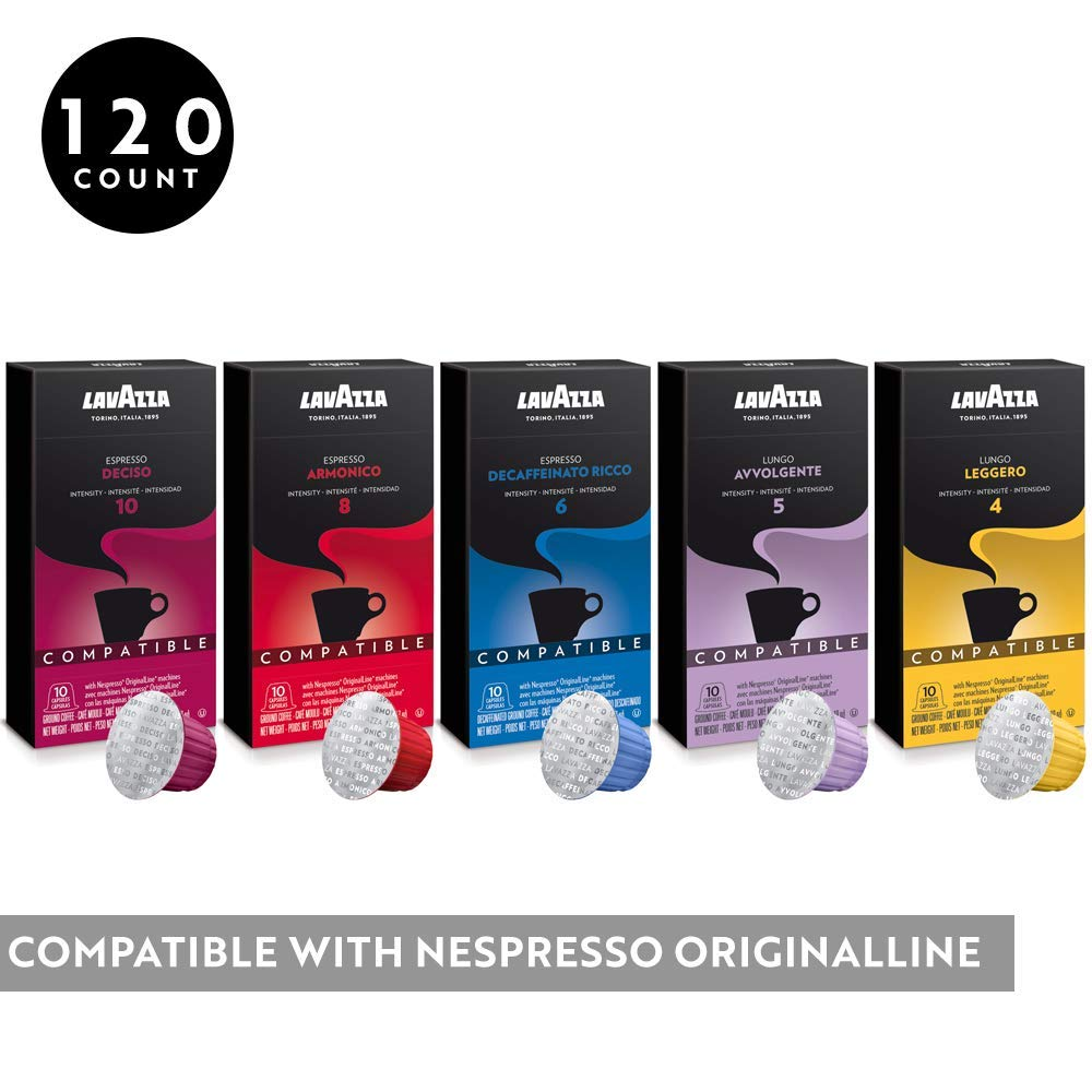 Lavazza Coffee for Nespresso OriginalLine Machine 120 pods Certified Genuine Espresso Variety Pack, Pods Compatible with Nespresso OriginalLine (Pack of 120)