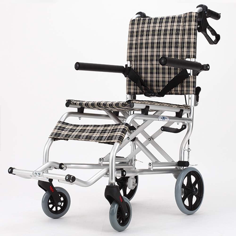 KAD Silla de ruedas plegable ligera Manejo médico Suministros médicos para adultos, ancianos Silla de ruedas Niños Plegable Portátil Rueda pequeña Viaje Anciano Pequeño Trolley simple Port