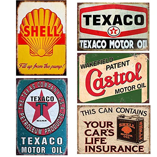FlowerBeads 5PCS Gas Motor Oil Antique Tin Signs, Vintage Garage Man Cave Retro Posters Bar Pub Wall Decor - 20X30cm