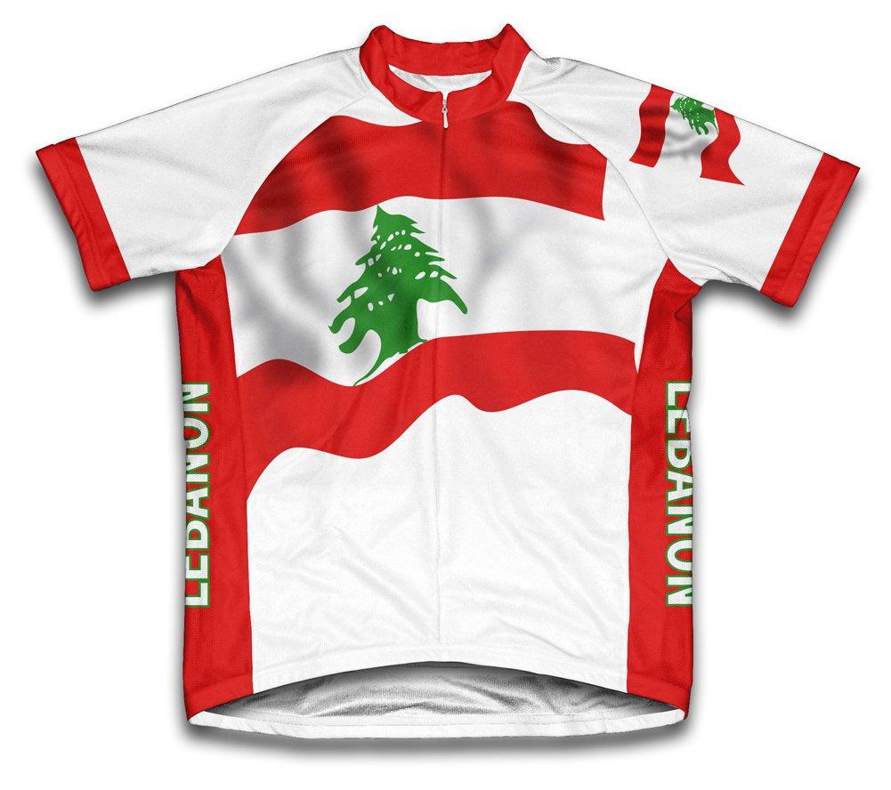 Lebanon Flag Radsport Trikot mit kurzer Ärmel für Menner