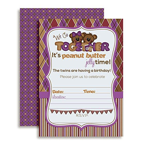 Peanut Butter & Jelly Twin Birthday Party Fill in Invitations Set of 30 5