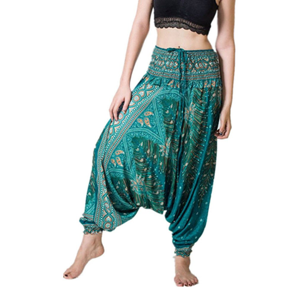 MERICAL Trousers for Women High Waisteded Trousers Loose Cotton Trousers Yoga Trousers Full Length Trousers Autumn Baggy Boho Aladdin Jumpsuit Harem Pants Bohemian Sport Trousers