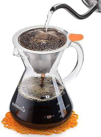 EASEHOLD Cafetera de Goteo Manual Verter por Encima Pour Over con Filtro de Café Permanente de Acero Inoxidable con Almohadilla Graduado de Silicona Resistente al Calor (500 ml): Amazon.es: Hogar