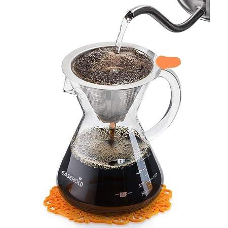 Easehold Cafetera de Goteo Manual Verter por Encima Pour over Con Filtro de Café Permanente de Acero Inoxidable con Almohadilla Graduado de Silicona ...