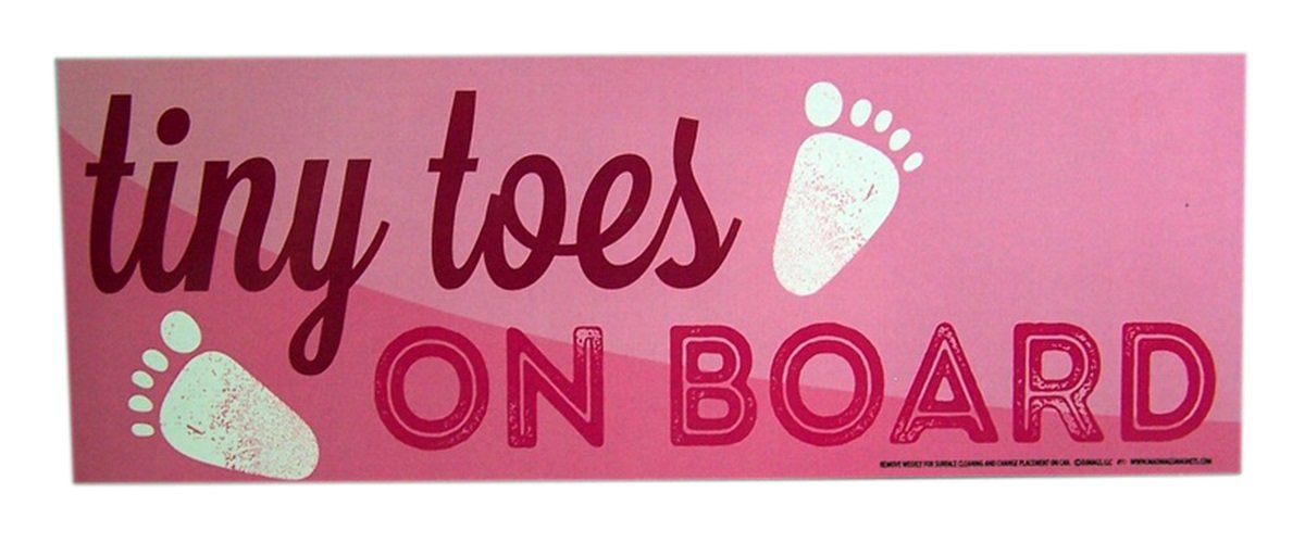 Tiny Toes On Board Baby Auto Car Magnet 9 Inch Pink