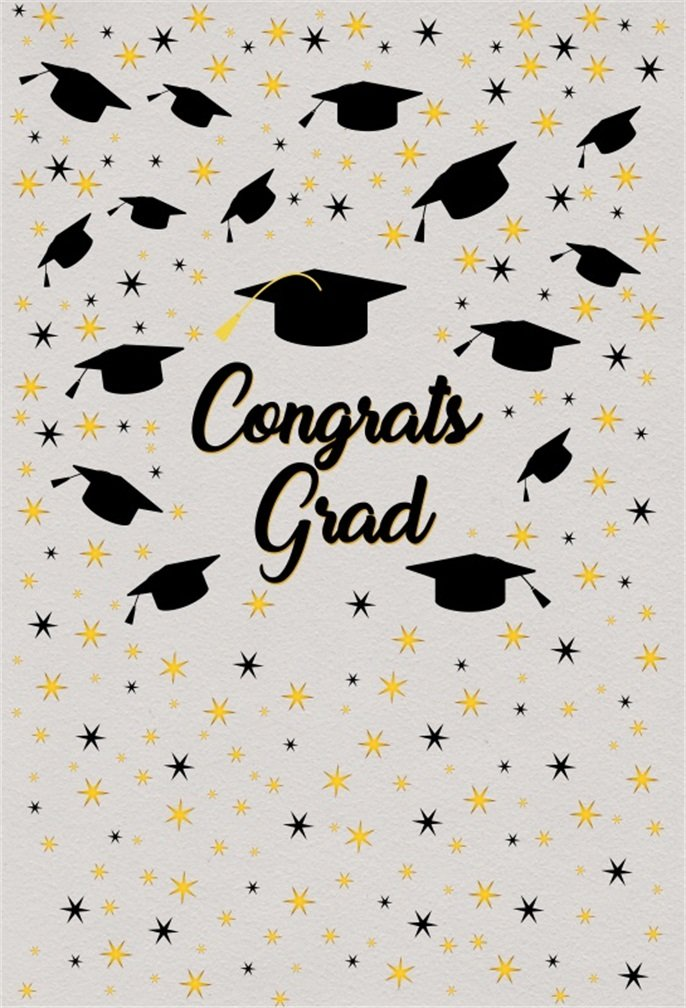 Congrats Grad Graduationシーズンの背景csfoto 5 x 7ft写真バックドロップ卒業キャップホワイトSrar College大学卒業お祝い卒業式フォトスタジオ小道具壁紙   B07DCGX1LM