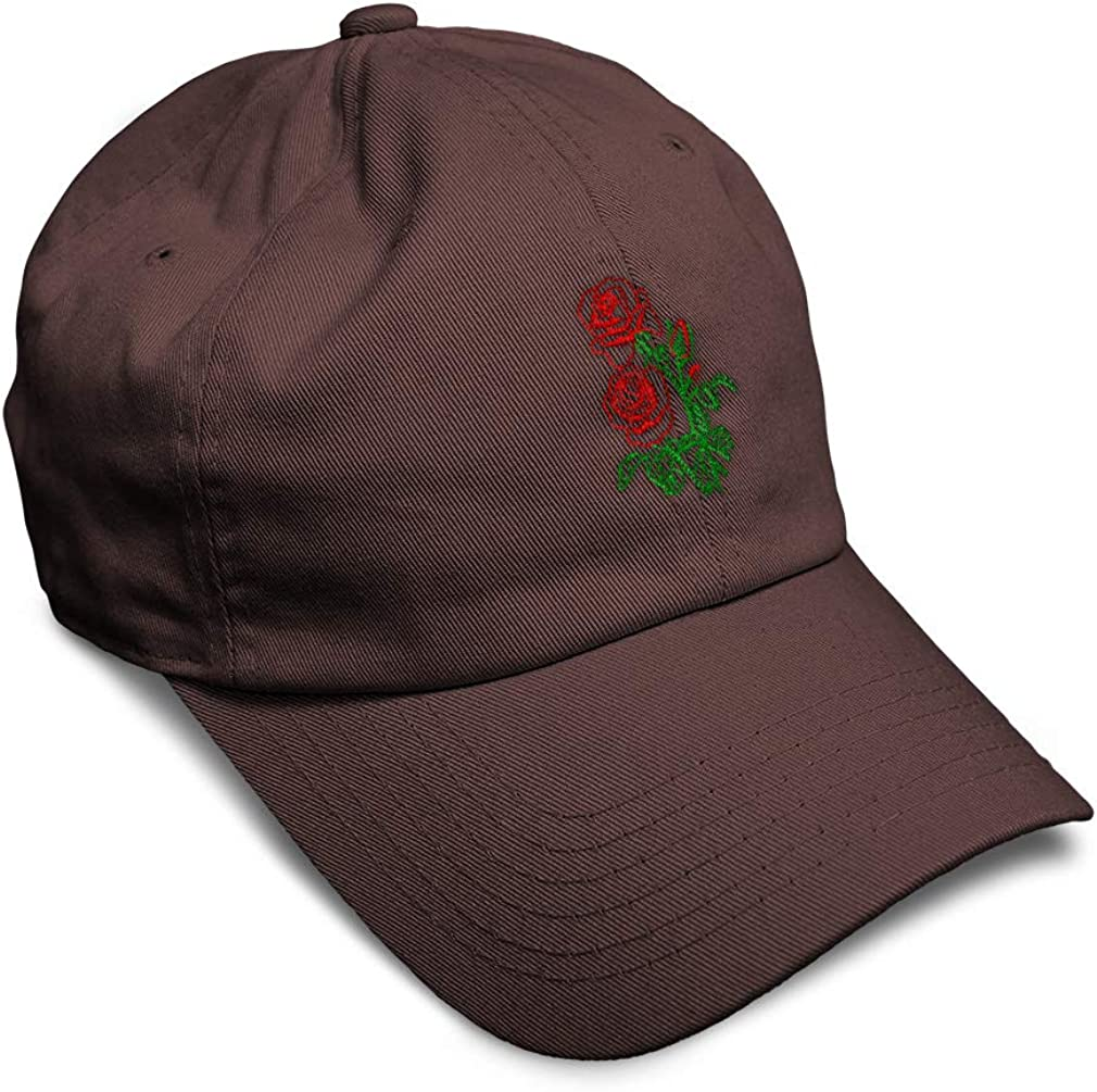 Custom Soft Baseball Cap Red Roses Embroidery Dad Hats for Men /& Women