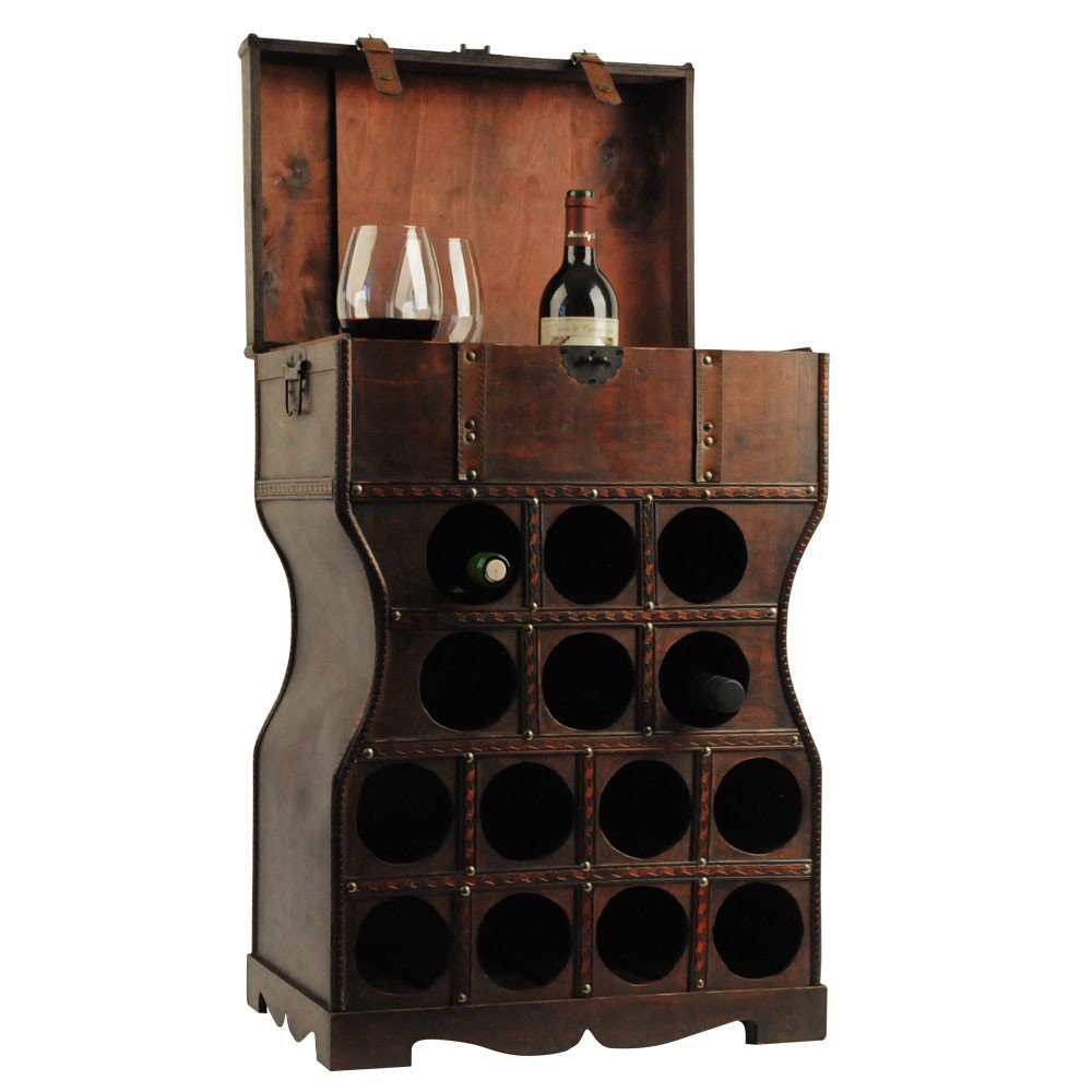Unbekannt Wein Regal Holz Kiste Metallbeschlag Flaschen Ständer ...