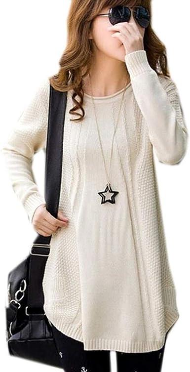 Sudaderas Mujer Otoño Invierno Elegantes Moda Pullover Camisas Cuello Redondo Color Sólido Manga Larga De Escisión Anchos Casual Jerseys Lana Pullover ...